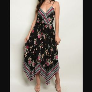 """ALIKI"" Sleeveless V-Neck Floral Print Maxi Dress"